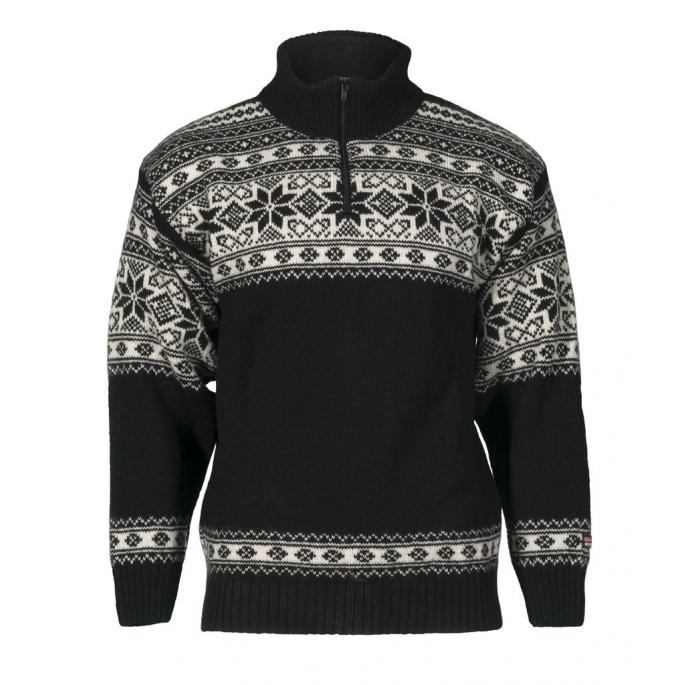 Norwegian wool sweater for women and men - black and white