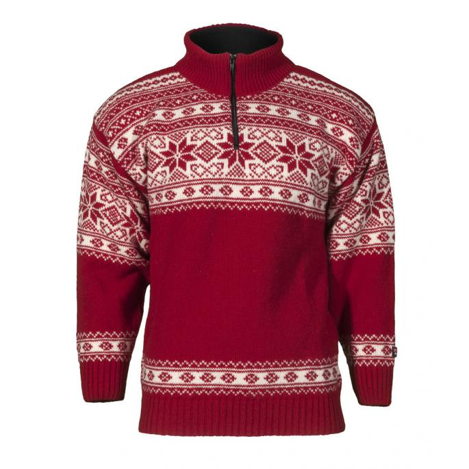 Norwegian wool sweater for women and men - red and white