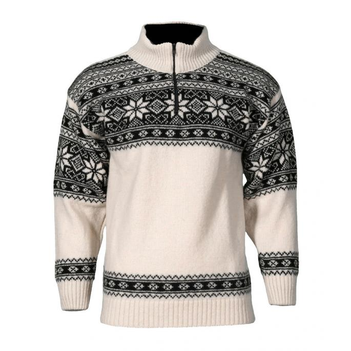 Norwegian wool sweater for women and men - white and black